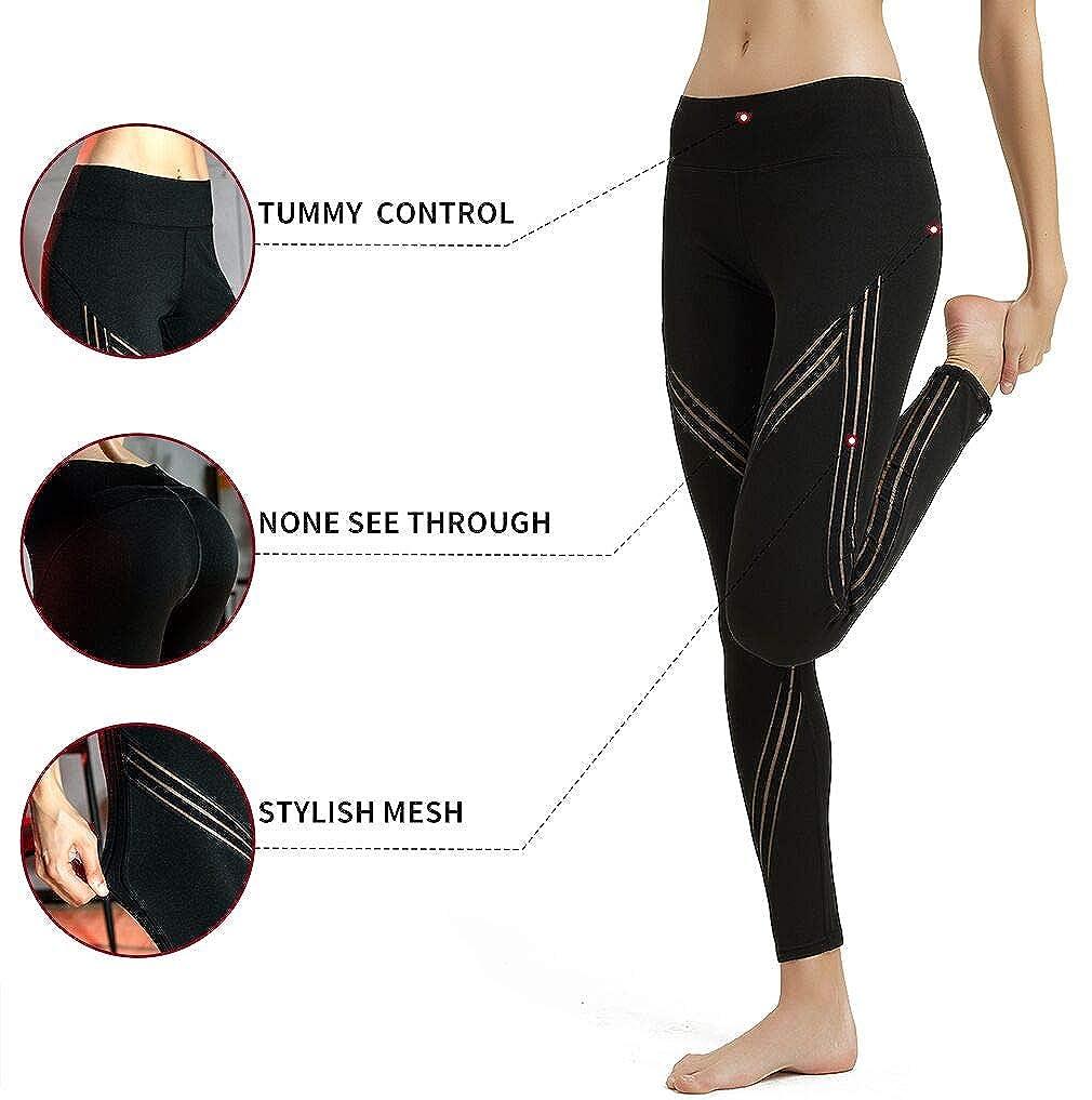 MCEDAR Women's High Waisted Faux Leather Leggings Mesh Sport Yoga Leggings for Causal
