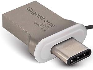 Gigastone 32GB USB Flash Drive USB 3.0 Type C OTG USB-C Dual Interface Memory Stick for PC Phone Apple MacBook Notebook Laptop Desktop (Factory Re-Marking Edition, New Un-Used)