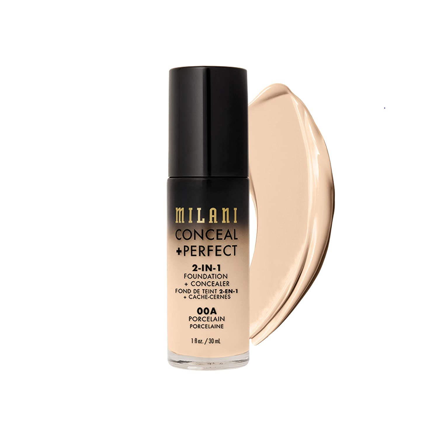 Milani Conceal + Perfect 2-in-1 Foundation + Concealer (1 Fl. Oz.) Cruelty-Free Liquid Foundation - Cover Under-Eye Circles, Blemishes & Skin Discoloration for a Flawless Complexion (Porcelain)