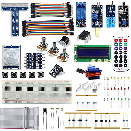 UCTRONICS Complete Upgraded Starter Kit for Raspberry Pi 3 w/ Tutorial, included Servo Motor T-Type GPIO Extension Board 8 Channel Logic Level Converter Relay Module Potentiometer Active Buzzer - Relay Card Kit