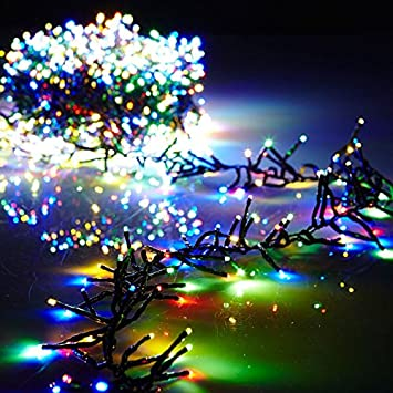 christmas cluster lights battery operated 15 foot garland with 120 multi color lights on green wire