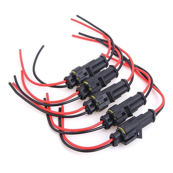 Juego de conectores eléctricos para bujías de automóvil de 2 clavijas, impermeables con cable AWG calibre Marino paquete de 5.: Amazon.es: Electrónica