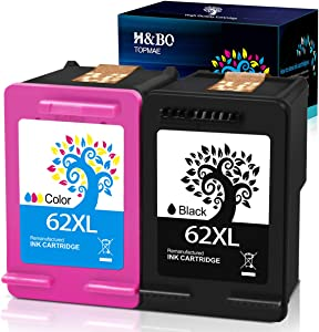 H&BO TOPMAE Remanufactured 62XL Ink Cartridge Replacement for HP 62 XL 62XL use for HP Envy 5640 5540 5660 7645 7644 Officejet 5740 8040 OfficeJet 200 250 Mobile Printer (1 Black 1 Tri-Color)