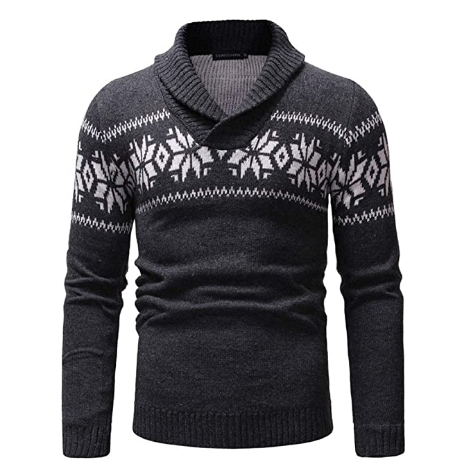 Longzjhd Herren Weihnachten Herbst Winter Pullover Gestrickt oben  Sweatshirt Outwear Männer Bluse Weihnachts Slim Fit Reindeer Langarm  Strickjacke ... 195eac4928