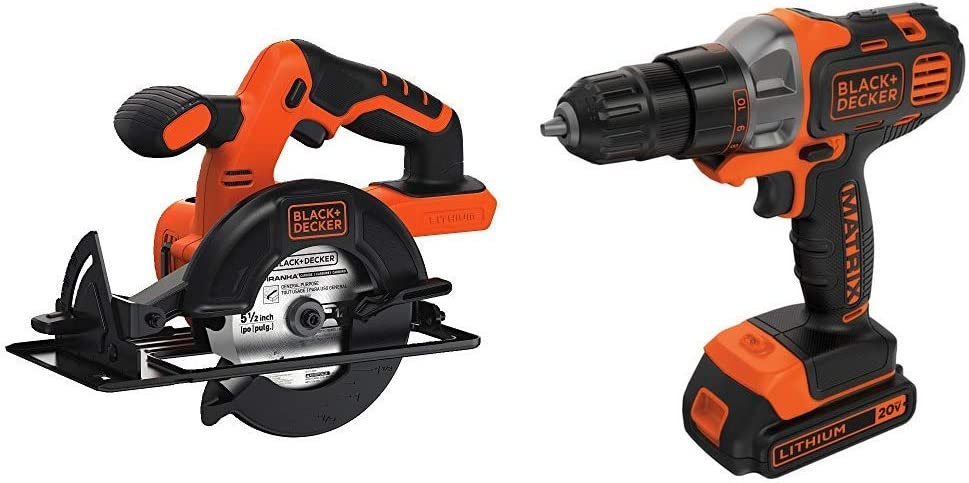 BLACK+DECKER BDCCS20B 20-volt Max Circular Saw Bare Tool, 5-1/2-Inch with BLACK+DECKER BDCDMT120C 20-Volt MAX Lithium-Ion Matrix Drill/Driver