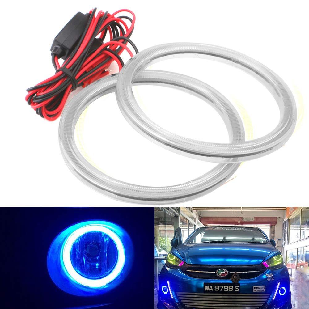 Fulintech 1-Pair 80MM Blue Auto Car Angel Eye Ring COB Light Lamp Bulb DC 12V