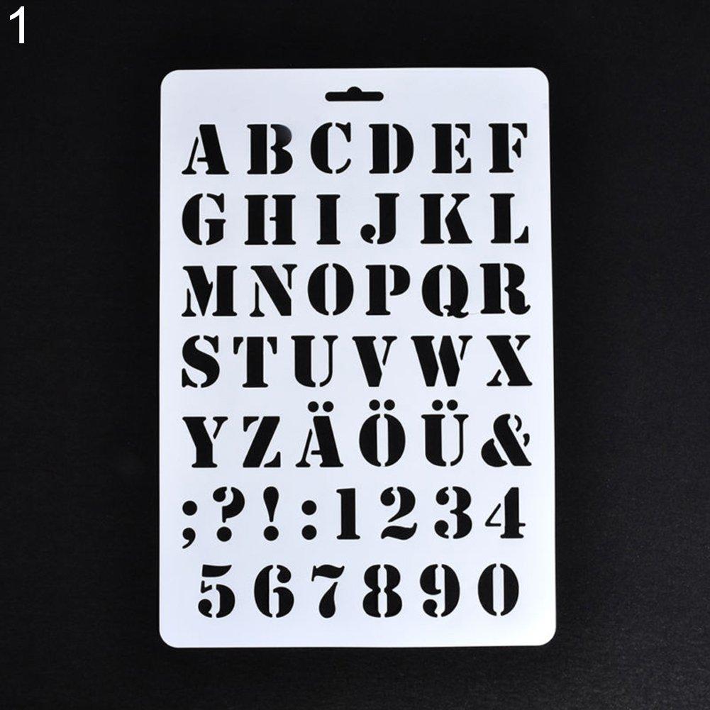 Lettre Alphabet Nombre Creux Pochoirs Peinture Scrapbooking Cartes De Visite Papier Craft Amesii 1