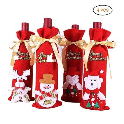 Comtervi Bolsa de Botella de Vino de Navidad, Cubierta de Botella de Vino de Navidad