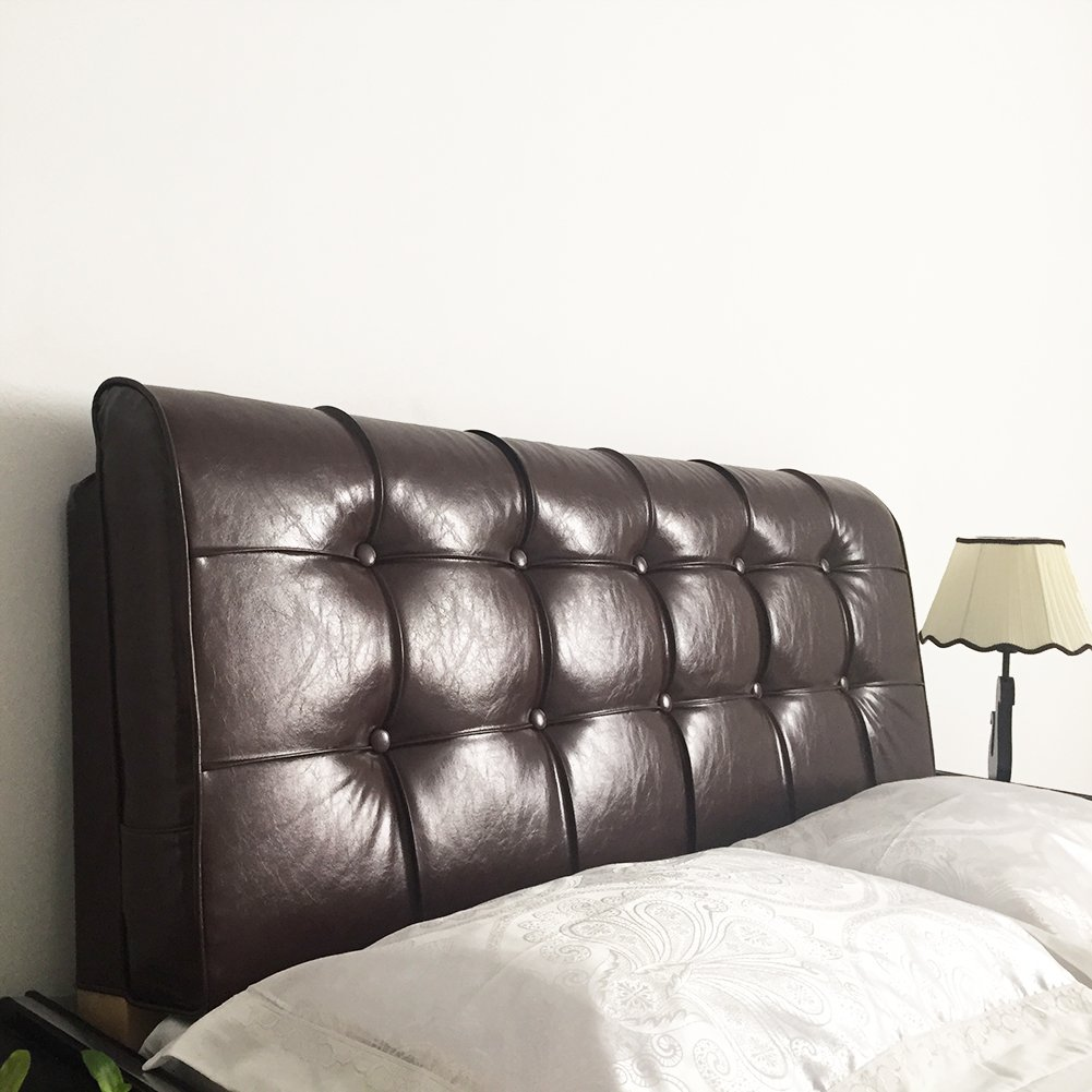 Vercart Leather Sofa Bed Large Soft Upholstered Headboard Filled Rectangle Wedge Cushion Daybed Backrest Positioning Support Reading Pillow Office Lumbar Pad No Need Washing Dark Brown 79x24x5 Inches
