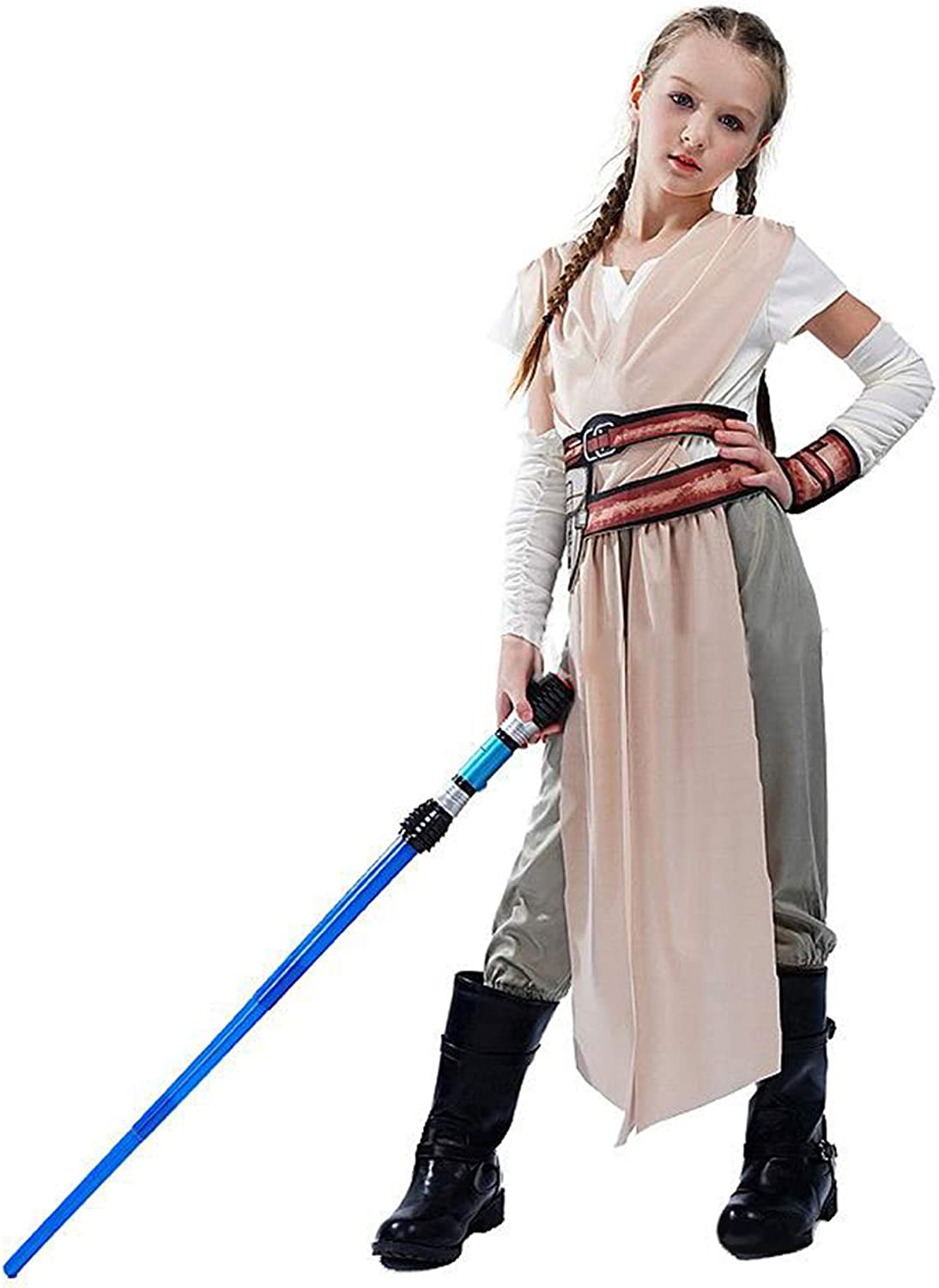 HOMELEX Rey Costume Deluxe Outfits Movie SW 9 Rise of Skywalker New Rey Cosplay Suit for Kids