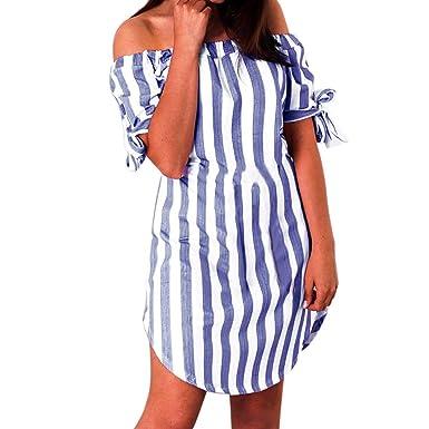 Damen Gestreift Partykleid Hemdkleid Kurzarm Strandkleid Maxikleid Sommerkleid