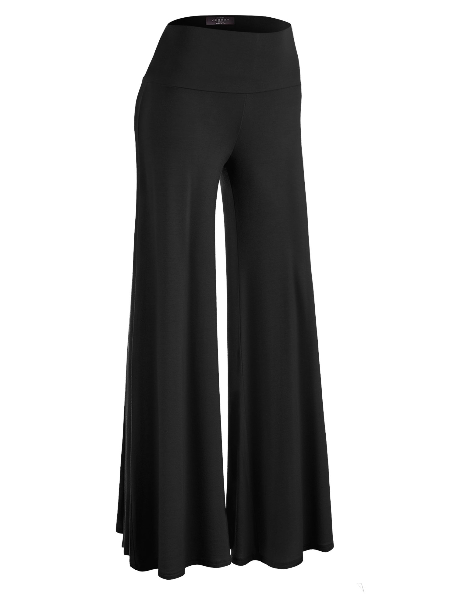 Made By Johnny WB750 Womens Chic Palazzo Lounge Pants M BLACK