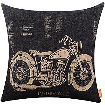 LINKWELL 18x18 inches Black Motorcycle Design Draft Man Cave Home Sofa Burlap Throw Cushion Cover Pillowcase CC1207