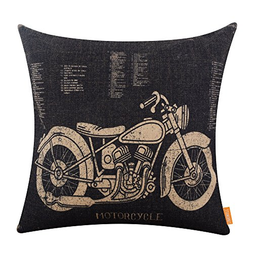 Motorcycle Decor - LINKWELL 18x18 inches Black Motorcycle Design Draft Man Cave Home Sofa Burlap Throw Cushion Cover Pillowcase CC1207