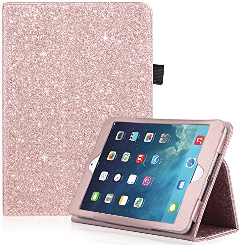 iPad Mini Case, iPad Mini 2 Case, iPad Mini 3 Case, UrbanDrama Glitter Sparkly Slim Fit Folio Stand PU Leather Case with Auto Wake/Sleep Feature Luxury Smart Cover for iPad Mini 1/2 / 3, Rose Gold