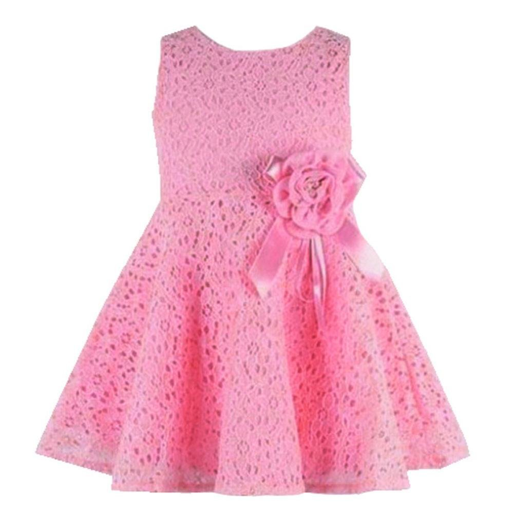 Changeshopping Baby Girls Kids Lovely Lace Floral Princess Party One Piece Dress (6-12month, Pink)