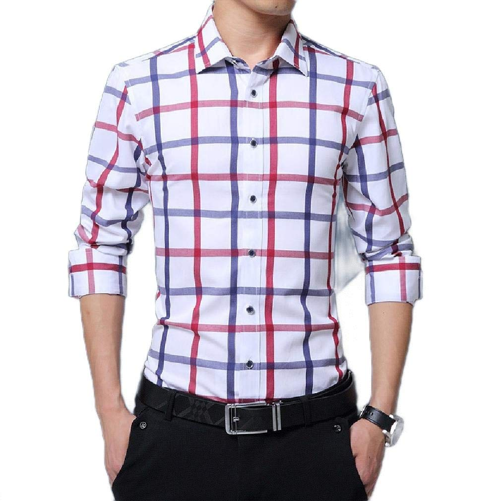 Zimaes-Men Tailored Fit No-Iron Casual Long Sleeve Plaid Dress Shirts