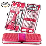 Teamkio Manicure Pedicure Set Nail Clippers Travel Hygiene Kit Stainless Steel Nail Cutter Care Set Scissor Tweezer Knife Ear Pick Utility Tools Grooming Kits with Leather Case 18 in 1 pcs (Pink)