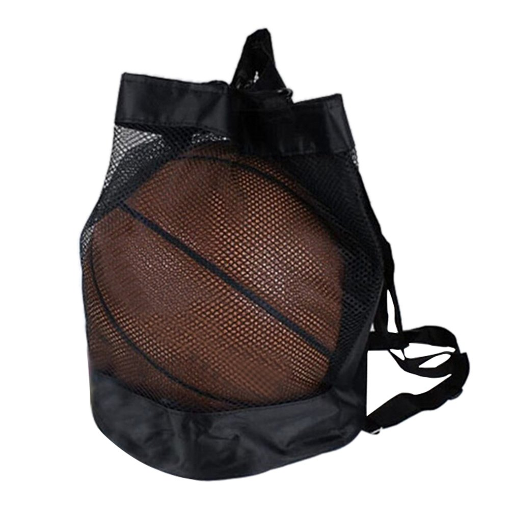 Yunhigh Drawstring Backpack for Basketball Football Volleyball Lightweight Mesh Ball Bag Holder Carrier Sports Packsack Gymbag Travel Shoes Bag Black