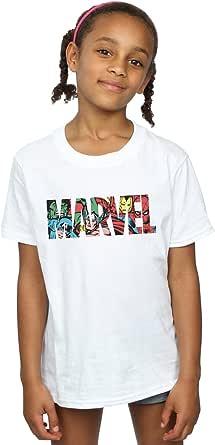 Marvel Comics Niñas Logo Character Infill Camiseta