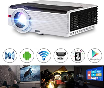 150 Inch Display Hi-Fi Speakers 4k Multimedia Home Theater Mirroring 3D Video Support AV VGA TV Stick TF Wireless WIFI Projector Android Bluetooth 1080P Full HD HDMI Laptop USB Smartphone