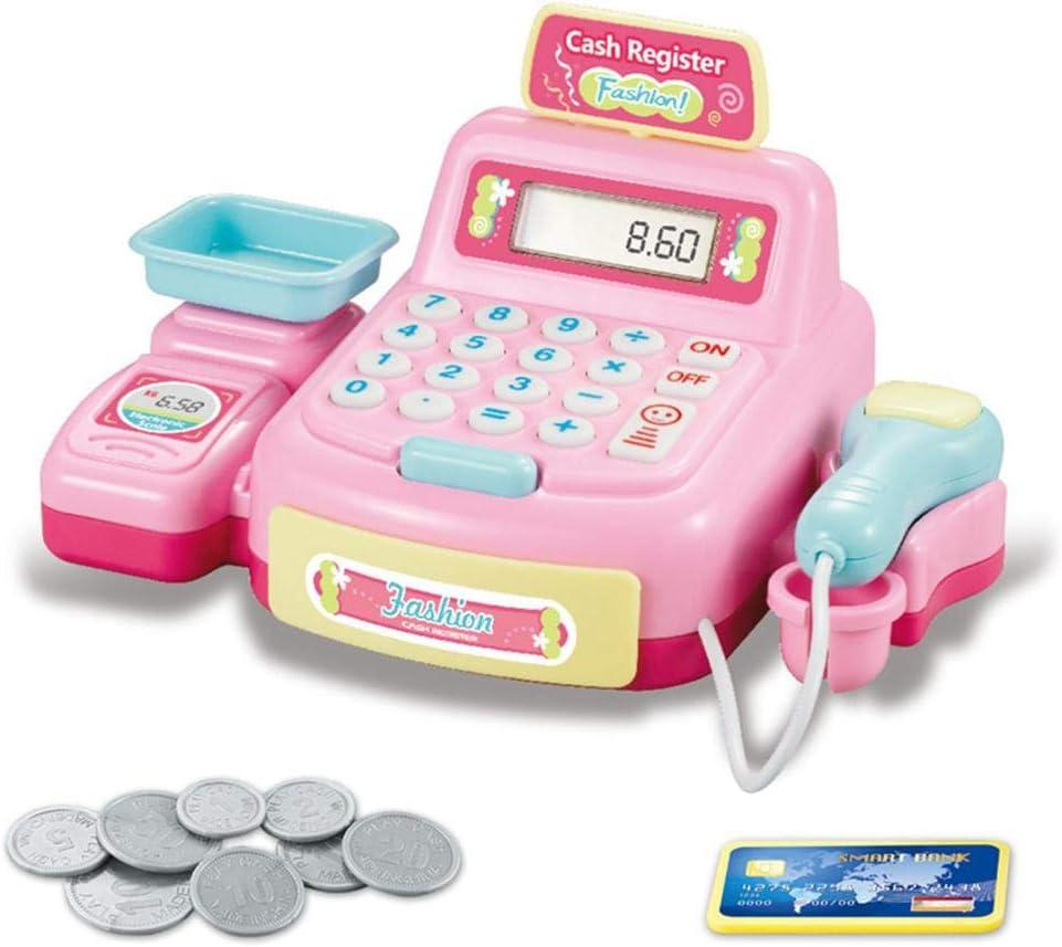 Hamkaw Supermercado - Juguete para niños, Caja registradora de Juguete con luz, Caja registradora de Juguete con Monedas, Tarjeta de crédito, calculadora, Juguete y escáner de Juguete, Rosa: Amazon.es: Hogar