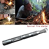 Enjoydeal Fire Starter, Magnesium SPARK Starter Aircraft Aluminum Emergency Survival Kit Camping Tool W Tactical Keychain Grey