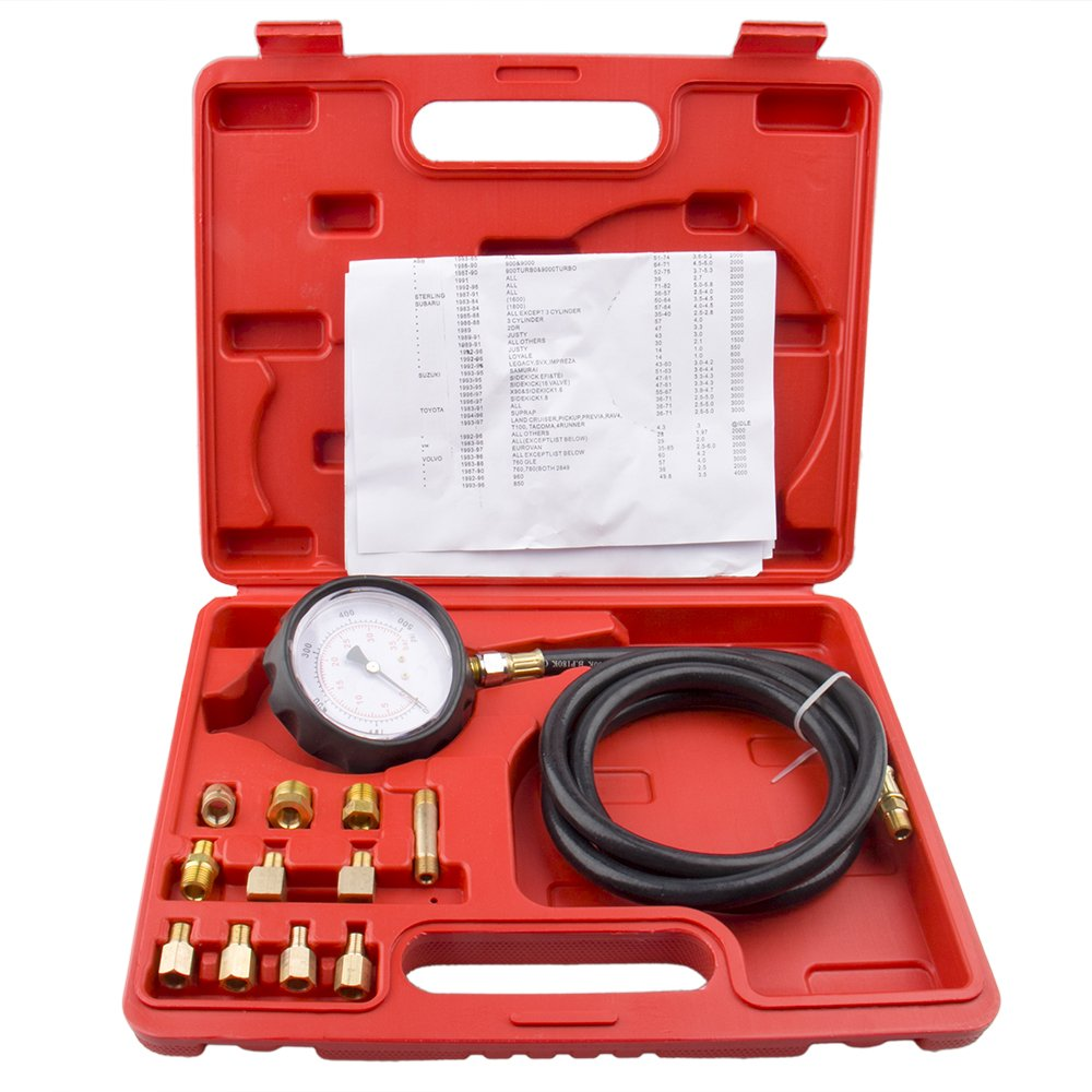 big-autoparts 12pcs Automotive Transmission Engine Oil Pressure Tester Gauge 0-500 PSI Diagnostic Test Tool Kits TU-11A with Adapters Case