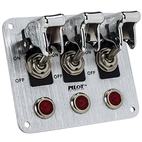 Pilot Automotive PL-SW53CR Performance 3 Row Chrome Safety Cover Toggle Switch with Red Indicator Lights