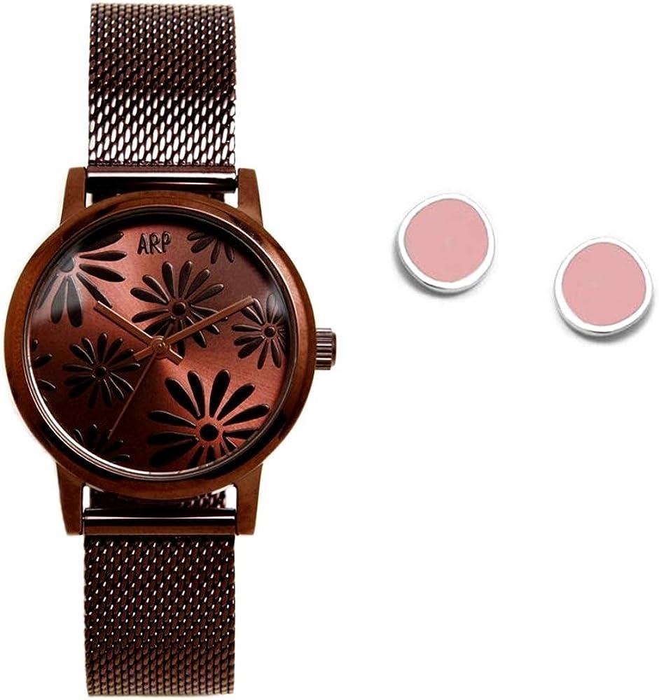 Juego Agatha Ruiz de la Prada reloj AGR262 chocolate pendientes plata Ley 925m círculo esmaltado - Modelo: AGR262
