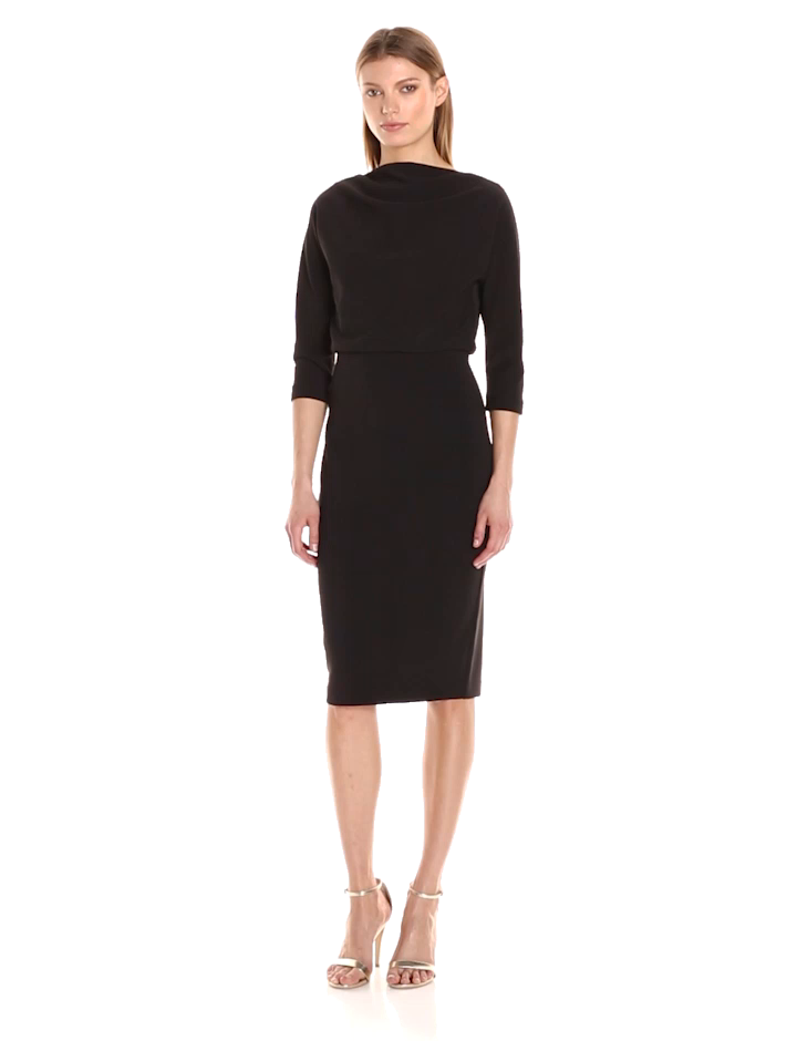 5640087e62a Amazon.com  Badgley Mischka Women s 3 4 Sleeve Blouson Dress  Clothing