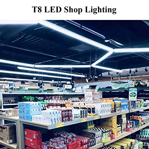 8FT LED Shop Light Fixture - 72W 7200LM, 5000K Daylight White, JESLED T8 Integrated V Shape Tube Lights, High Output Bulbs for Garage Warehouse Workshop, with On/Off Switch, Plug and Play (6-Pack) by JESLED LIGHTING (Image #7)