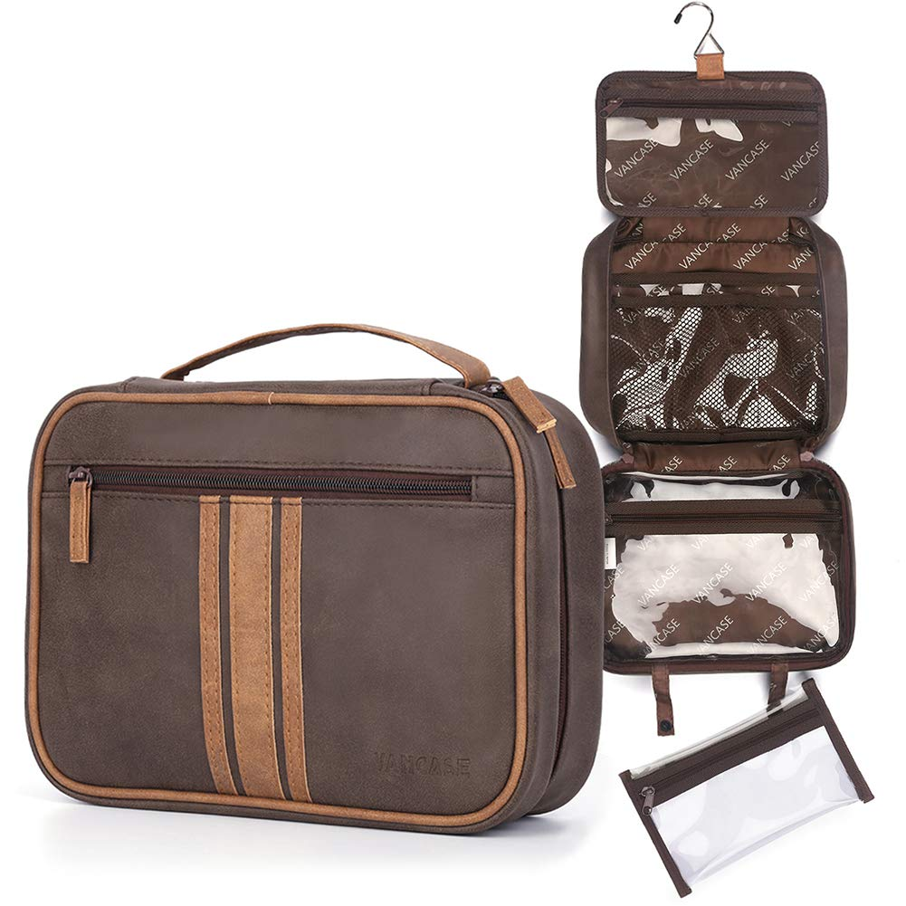 Hanging Toiletry Bag for Men VANCASE Vintage Leather Shaving Dopp Kit Large Folded Bathroom Shower Organizer with 8 Versatile Pockets for Personal Care Travel Accessory