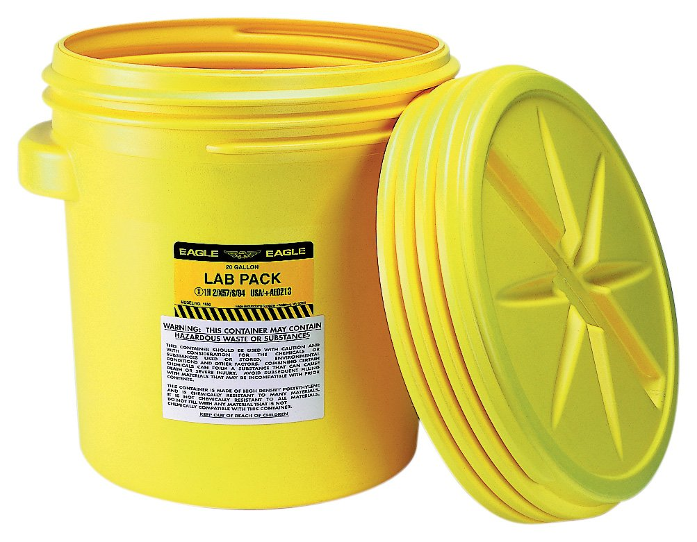 Eagle 1650 Yellow Blow-Molded HDPE Lab Pack with Screw Top Lid, 20 gallon Capacity, 20.75'' Height, 20.5'' Diameter