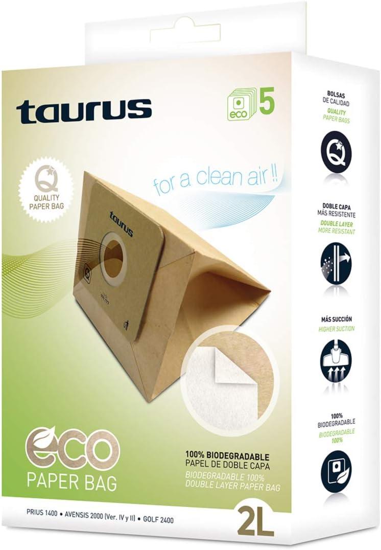 Taurus 999193000 Paquete de 5 Bolsas de Papel Eco para aspiradores Trineo de 2 litros de Capacidad, biodegradables, Plastic, Madera: Amazon.es: Hogar