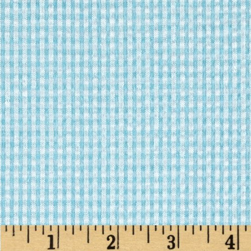 Kaufman Classic Seersucker Check Sky Fabric By The Yard