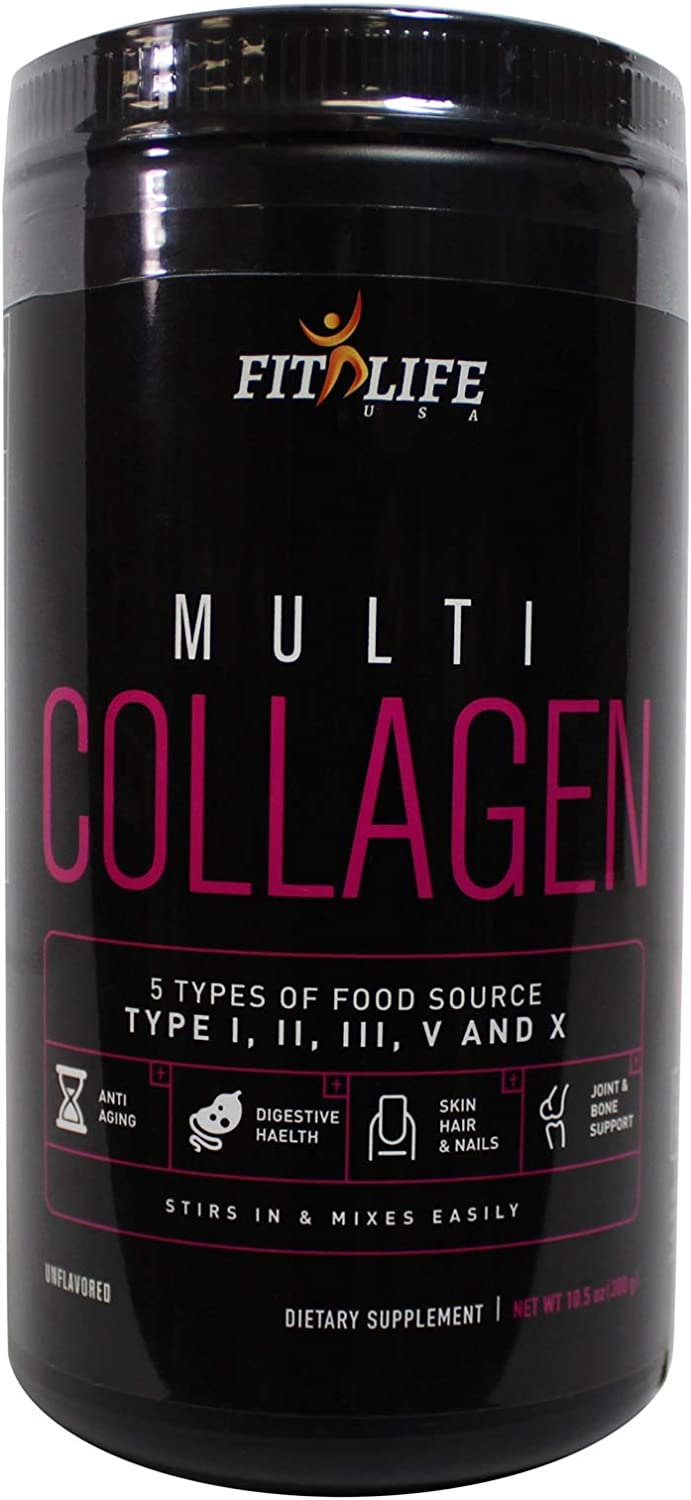 Fit Life USA - Multi Collagen Premium Powder, 5 Types of Food Source Collagen - Type I, II, III, V, and X (10.5oz)