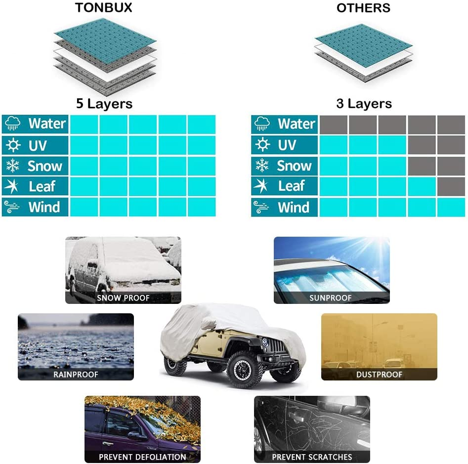 Waterproof Windproof Dustproof UV Protection Universal Car Covers for Truck All Weather Car Cover for Pickup Truck Fits up to 228 hikotor 5 Layers Truck Cover