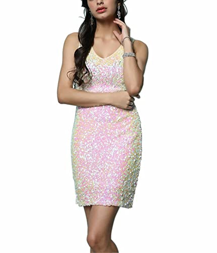 Whitewed Sexy V Neck Sequin Glitter Bodycon Stretchy Mini Party Dress Night Out