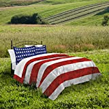 Destinations Stars and Stripes Camo Comforter Set, King, Red