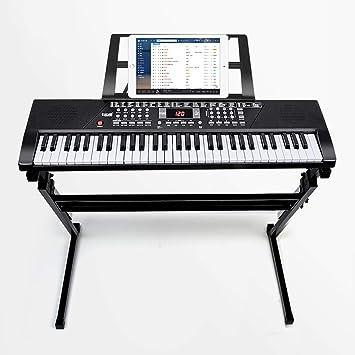 Teclado para niños General Edad Principiante Cantar mientras se juega 61 Teclas con micrófono + Soporte para piano + Auriculares + Cubierta para piano ...