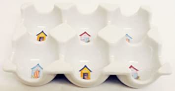 Bandeja para 6 huevos, accesorio de porcelana, almacenamiento para nevera, bandeja decorada a