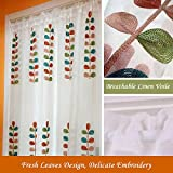 "Cheap MZPRIDE Leaf Embroidered Sheer Curtains Linen Voile Curtain Linen Cafe Curtains 57""35"",1Piece"
