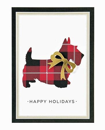 box of 10 embellished scottie dog holiday cards - Dog Holiday Cards