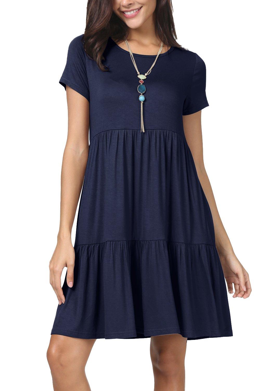levaca Women Short Sleeve Pleated Loose Casual Cute T Shirt Dress Deep Blue L