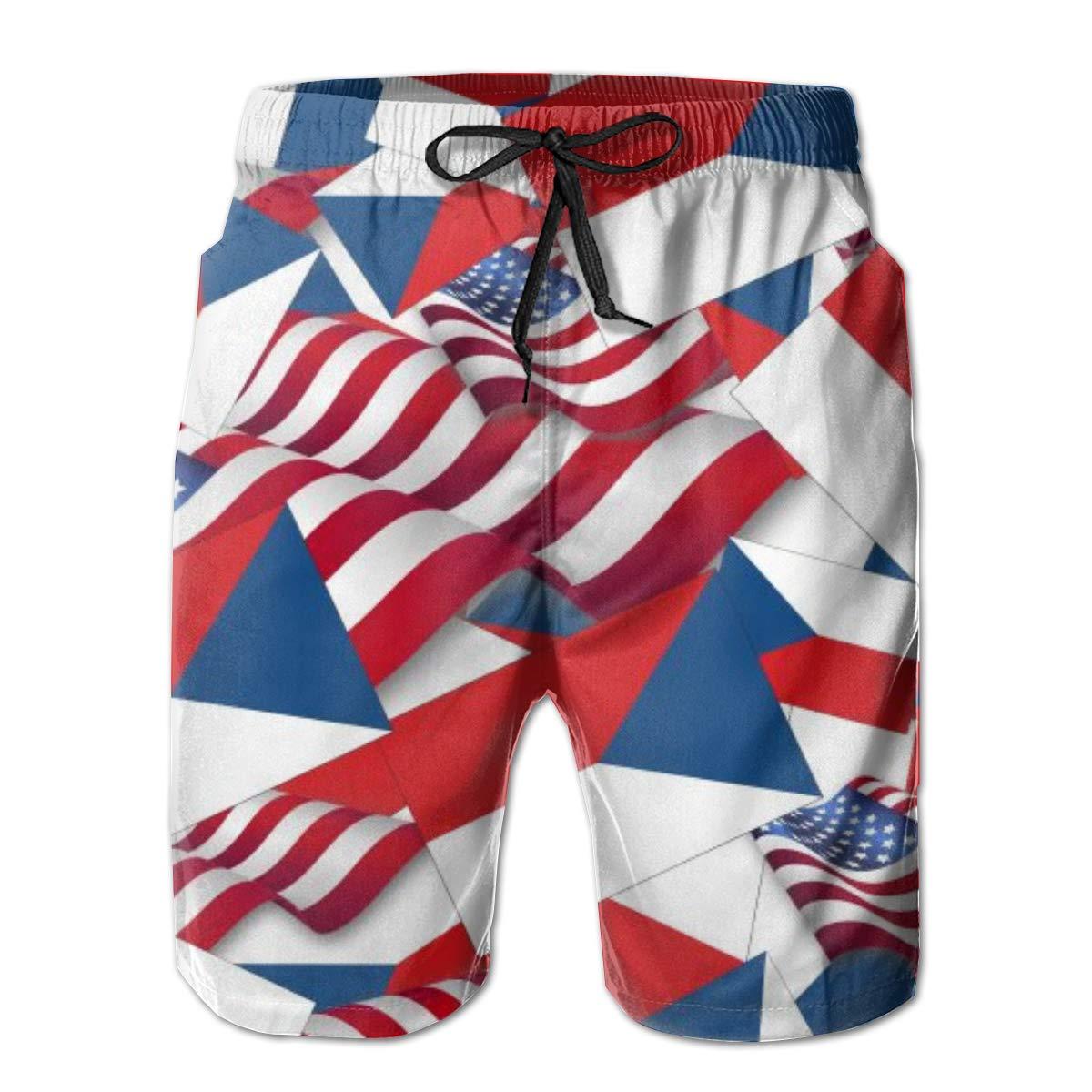 FUNSTYEET Czech Republic Flag with America Flag Mens Board Shorts Swim Mesh Lining and Side Pocket