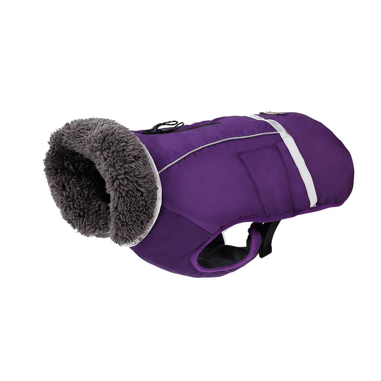 Purple XXLRC GearPro Water Resistant Dog Jacket Winter Thicken Pet Dog Clothes Apparel with Reflective Strips (M, red)