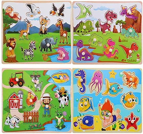 Wooden Peg Puzzles for Toddlers Animal Pattern Matching Chunky  Jumbo Knob Board Learning Toys Kids Preschool Educational Games for Boys Girls Ages 1 2 3 Years Old(Set of 4)