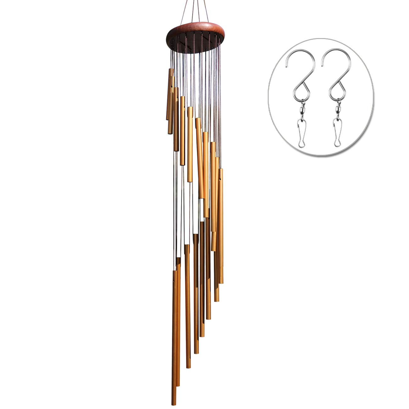 """punada Long Wind Chimes Outdoor, Upgraded 36"""" Wind Chimes with 18 Aluminum Alloy Tubes Large Wind Chimes with Free 2 Pack Hooks, Perfect Decoration for Patio, Balcony and Indoor (Golden)"""