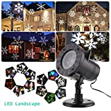 TOP-MAX® LED Landscape Projector lights,Waterproof Moving White Snowflake Spotlight Projector Stage Light with for Indoor Outdoor Christmas Garden Patio Home Wall Wedding Party Decor(White Snowflake)